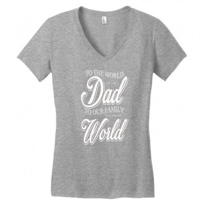 Dad Women's V-neck T-shirt Designed By Impossible Designs