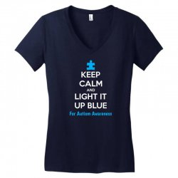 Keep Calm And Light It Up Blue For Autism Awareness Women's V-Neck T-Shirt | Artistshot