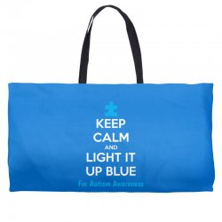 Keep Calm And Light It Up Blue For Autism Awareness Weekender Totes | Artistshot