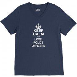 Keep Calm and Love Police Officers V-Neck Tee | Artistshot