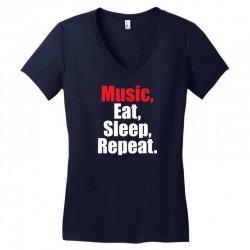 Music Eat Sleep Repeat Women's V-Neck T-Shirt | Artistshot