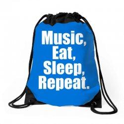 Music Eat Sleep Repeat Drawstring Bags | Artistshot