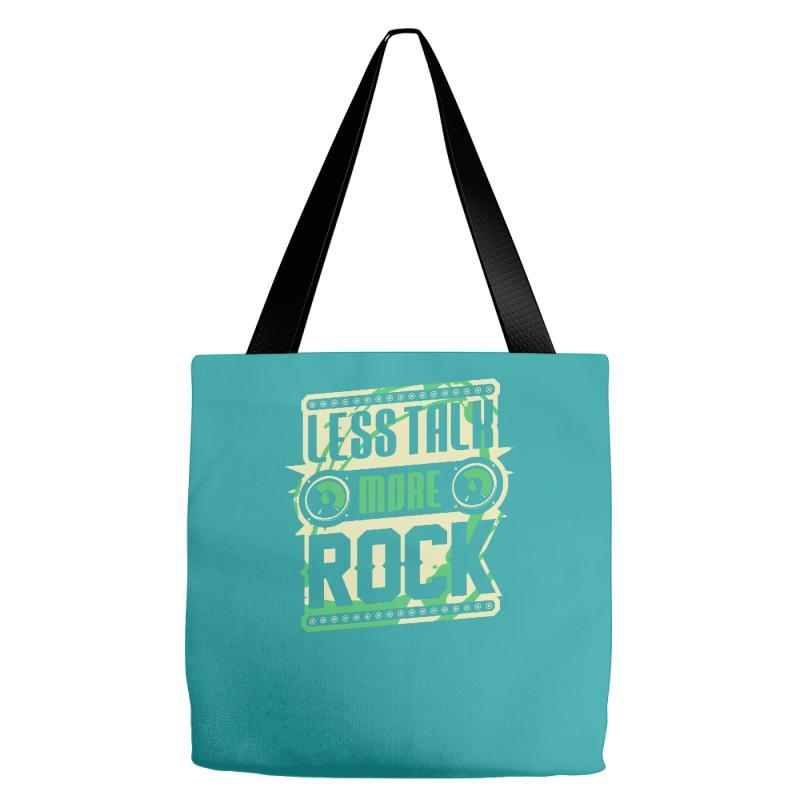 bddad1373b Custom Less Talk More Rock Tote Bags By Buckstore