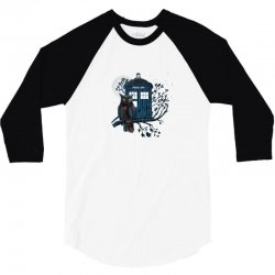 Owl And Tardis 3/4 Sleeve Shirt | Artistshot