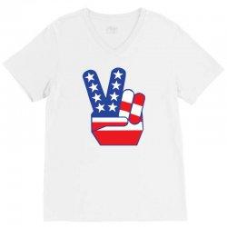 Peace Sign Hand V-Neck Tee | Artistshot