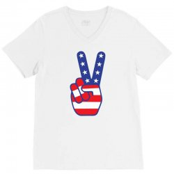 Peace Sign Hand V-Neck Tee | Artistshot