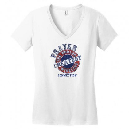 Prayer The Worlds Greatest Wireless Connection Women's V-neck T-shirt Designed By Tshiart