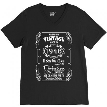 Premium Vintage Made In 1946 V-neck Tee Designed By Tshiart