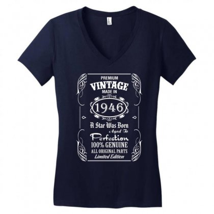 Premium Vintage Made In 1946 Women's V-neck T-shirt Designed By Tshiart