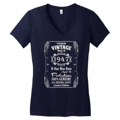 Premium Vintage Made In 1947 Women's V-neck T-shirt Designed By Tshiart