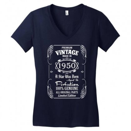 Premium Vintage Made In 1950 Women's V-neck T-shirt Designed By Tshiart
