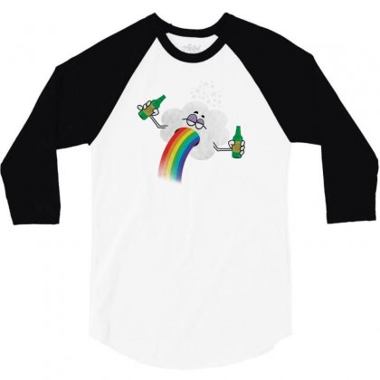 Rainbow Puke 3/4 Sleeve Shirt Designed By Tshiart
