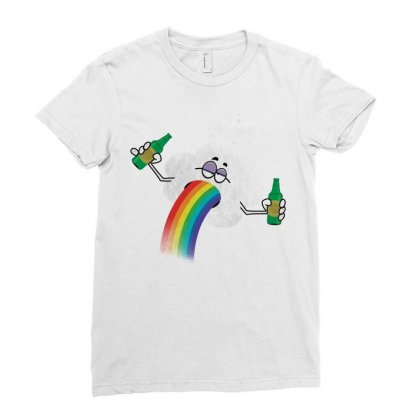 Rainbow Puke Ladies Fitted T-shirt Designed By Tshiart