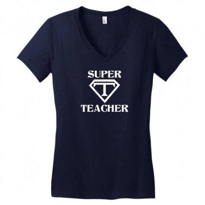 Super Teacher Women's V-neck T-shirt Designed By Tshiart