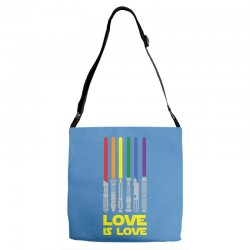 Lightsaber Rainbow - Love Is Love Adjustable Strap Totes | Artistshot