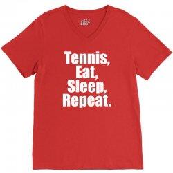 Eat Sleep Tennis Repeat V-Neck Tee | Artistshot