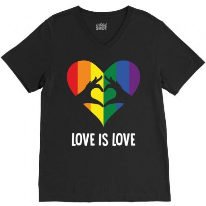 Love Is Love Lgbt Rainbow Heart V-neck Tee Designed By Tshiart