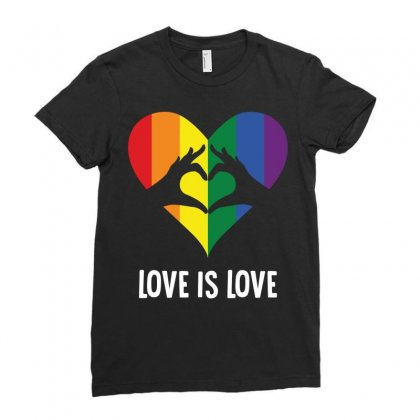 Love Is Love Lgbt Rainbow Heart Ladies Fitted T-shirt Designed By Tshiart
