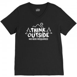 Think Outside No Box Required V-Neck Tee | Artistshot