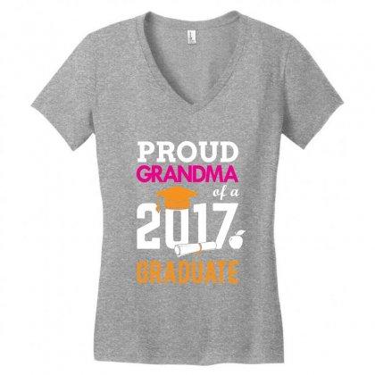 Class Of 2017 Proud Grandma Graduation Women's V-neck T-shirt Designed By Designbycommodus