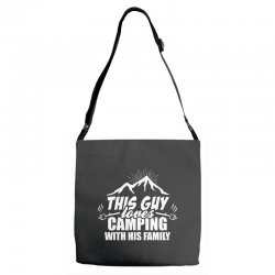 This Guy Loves Camping With His Family Adjustable Strap Totes | Artistshot