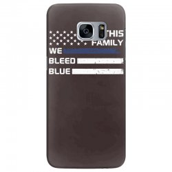 in this family we bleed blue funny Samsung Galaxy S7 Edge Case | Artistshot