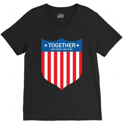 Together (one Nation. One Team) V-neck Tee Designed By Tshiart
