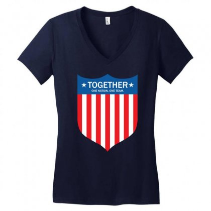 Together (one Nation. One Team) Women's V-neck T-shirt Designed By Tshiart