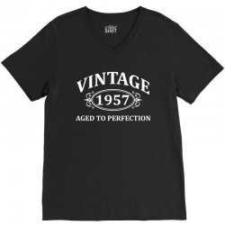 Vintage 1957 Aged to Perfection V-Neck Tee   Artistshot