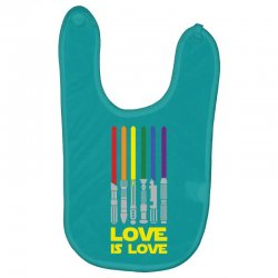 Lightsaber Rainbow - Love Is Love Baby Bibs | Artistshot