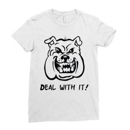 Deal With It Angry Pitbul Ladies Fitted T-shirt Designed By Mdk Art