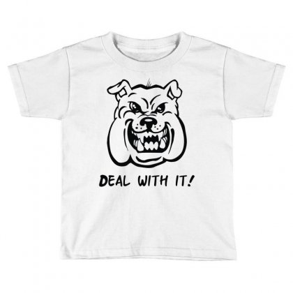 Deal With It Angry Pitbul Toddler T-shirt Designed By Mdk Art