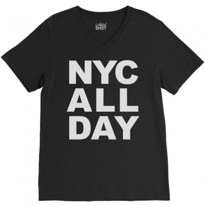 Nyc All Day V-neck Tee Designed By Mdk Art