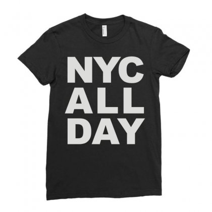 Nyc All Day Ladies Fitted T-shirt Designed By Mdk Art