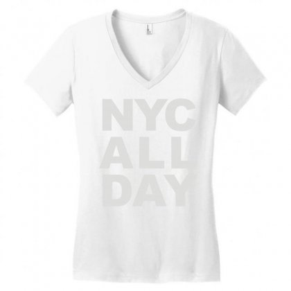 Nyc All Day Women's V-neck T-shirt Designed By Mdk Art