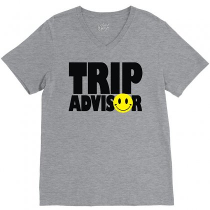 Trip Advisor V-neck Tee Designed By Mdk Art