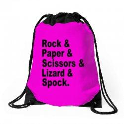 rock paper scissors lizard spock big bang theory geek nerd gift t shir Drawstring Bags | Artistshot