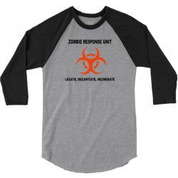 zombie response unit t shirt funny dead brains s 3xl 3/4 Sleeve Shirt | Artistshot