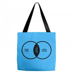 music elitism venn diagram musician indie snob rock geek shirt t shirt Tote Bags | Artistshot