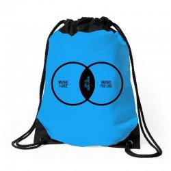 music elitism venn diagram musician indie snob rock geek shirt t shirt Drawstring Bags | Artistshot