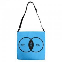 music elitism venn diagram musician indie snob rock geek shirt t shirt Adjustable Strap Totes | Artistshot