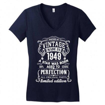 Vintage 1949 Women's V-neck T-shirt Designed By Sabriacar