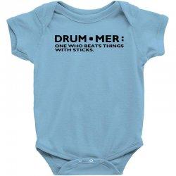 Definition Of A Drummer Music Drum Sticks Rock Band Musician Geek Shir Baby  Bodysuit  By Artistshot
