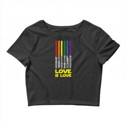 Lightsaber Rainbow - Love Is Love Crop Top | Artistshot