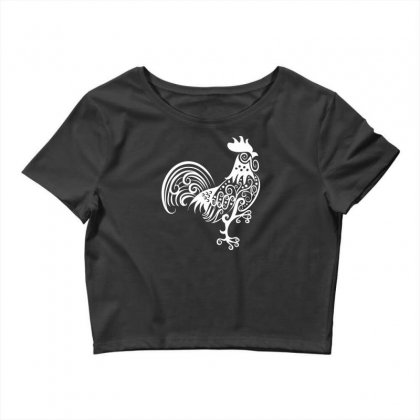 Rooster Pattern Ornament Crop Top Designed By Specstore