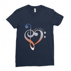 music expresses clef heart girls Ladies Fitted T-Shirt | Artistshot
