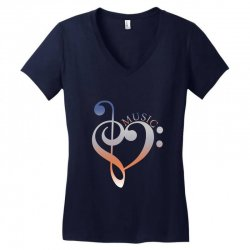 music expresses clef heart girls Women's V-Neck T-Shirt | Artistshot