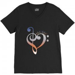 music expresses clef heart girls V-Neck Tee | Artistshot