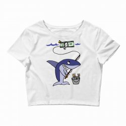 funny shark fishing for humans Crop Top | Artistshot