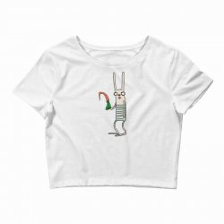 funny rabbit bunny holding a carrot Crop Top | Artistshot